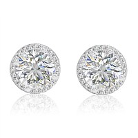6ct tw Sterling Silver Halo Stud Earrings with Swarovski Zirconia