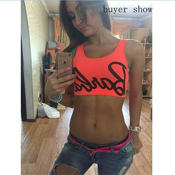 European candy neon Barbie letter print bustier crop top women fitness tank tops camis sexy backless blusa F10957