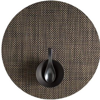 CHILEWICH Basketweave Round  Placemat S/4   Black/Gold