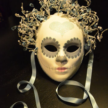 Starlight Ice Queen Day of the Dead Mask - Shimmery Heart Pastel Mi Amor Bride Dia de los muertos Beaded Headdress Valentines Day Love
