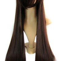 "MapofBeauty 32"" 80cm Long Straight Anime Costume Cosplay Wig Party Wig (Dark Brown)"