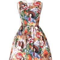 Boat Neck Line Dress with 50's Film Star Prints | ReoRia