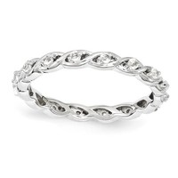 Sterling Silver Stackable Expressions April White Topaz Twist Band Eternity Ring