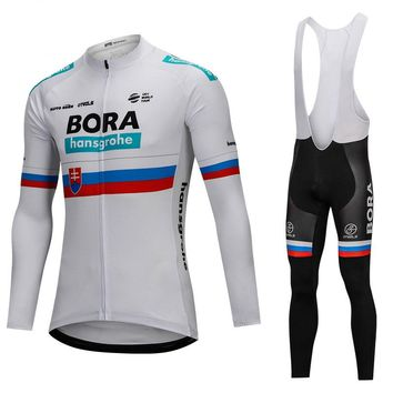 Bora 2018 Slovakia Champion Cycling Jersey Sets Long Sleeve Jersey Cycling Clothing Road Bike Mtb Riding Apparel Ropa Ciclismo