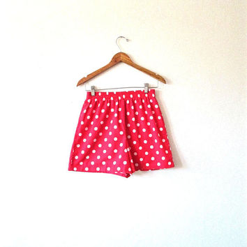 Wms Vintage Red & White POLKA DOT High Waisted Pinwheels Minnie Mouse Shorts Sz M
