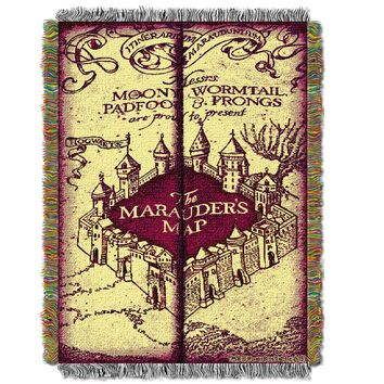 "Harry Potter Marauders Map Licensed 48""x 60"" Woven Tapestry Throw  by The Northwest Company"