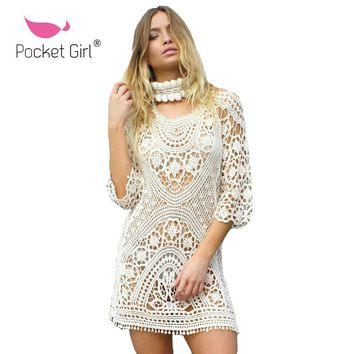 Pocket Girl 2017 New Arrival Summer Women White Solid Lace Hollow Out Backless Bandage Beach Sunscreen Cover Up Beach Dress