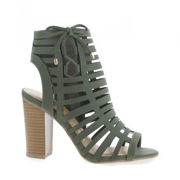 Server Khaki By Delicious, Open Toe Caged High Heel Mule Sandals