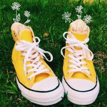 Converse All Star Classic Fashion Women Men Casual High Tops Sports Comfort Shoes Sneakers Yellow I/A