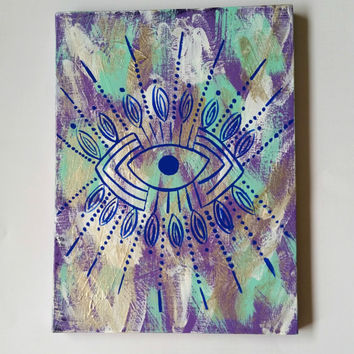 Bohemian blue evil eye acrylic canvas painting for bedroom, dorm room, or home decor