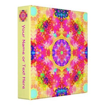Pink and Yellow Kaleidoscope Fractal 3 Ring Binders from Zazzle.com