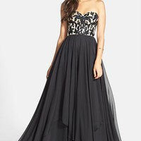 Sherri Hill Embroidered Bodice Strapless Chiffon