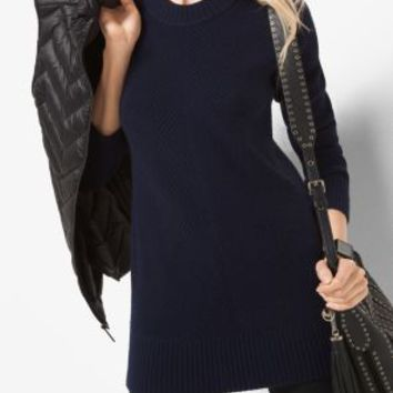 Ribbed Merino Wool and Cashmere Sweater | Michael Kors