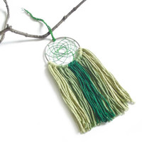 Green Dream Catcher Green Dreamcatcher Green Wall Hanging Small Dream Catcher Yarn Wall Hanging Bohemian Wall Decor Nursery Crib Mobile