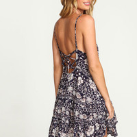 FLORAL TRIBAL LACE UP DRESS
