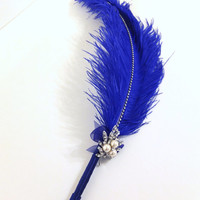 Large Elegant Royal Blue Feather Pen with Pearl Brooch / Wedding Signing Pen / Guest Book Pen / Wedding Reception Accessories /