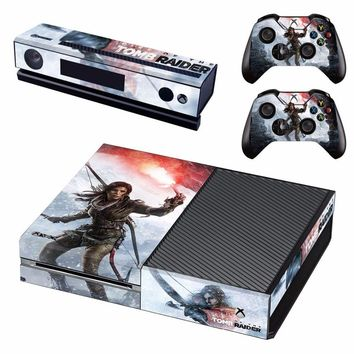 Tomb Raider Vinyl Skin Decal Cover for Microsoft Xbox One Console & Kinect & 2 controller skins