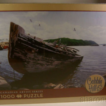 Awash Cobble Hill 1000 Pc Jigsaw Puzzle Canadian Artist David Ward 19x28 Boat
