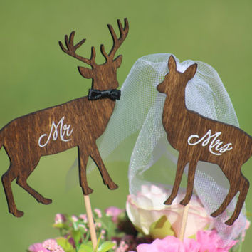 Deer Cake Topper - Mr & Mrs Deer- Beach wedding - Bride and Groom - Rustic Country Chic Wedding