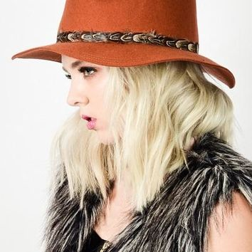 Farrah Feather Band Fedora in Rust