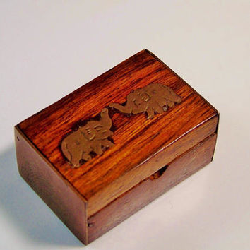 Match Holder Box Trunk Shape Brass Elephant Inlays Vintage Miniature Wood Case Collectible