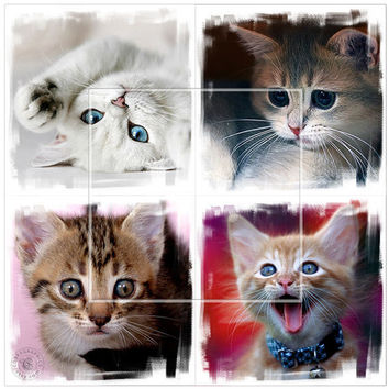 Playful Kittens - 6 Digital Collage Sheets CP-160 - 4x4 inch (or smaller) tiles for Scrapbooking Coasters Stickers