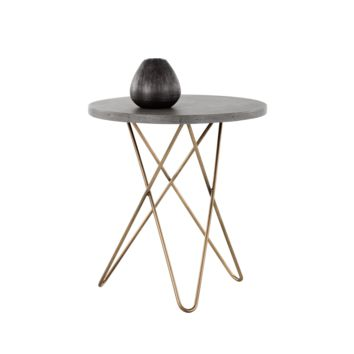 WES ANTIQUE BRASS FINISH BASE WITH GREY CONCRETE TOP END TABLE