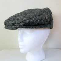 Donegal Tweed Cap Newsboy Hat // Hats of Ireland Pure Wool Size Large New Deadstock