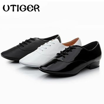 Big size 25-44 Modern Men's Children Boy Ballroom Tango Latin Dancing Shoes Low heel 2.5cm women Man kid boys dance shoes WD195