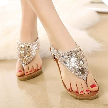 Women's Dazzling Boho High Wedge Rhinestone Thong Sandals