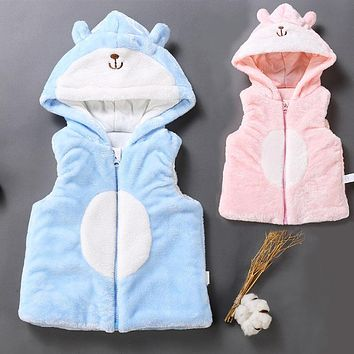 High Quality Baby Girls Winter Waistcoat Outerwear Infant Coral Fleece Ziper Coats Toddler Hooded Topwear Character Hoodies Vest
