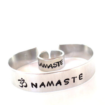 Namaste Bracelet Ring Set Yoga Jewelry Namaste Cuff Ohm Om Hand Stamped Adjustable Unique Gift For Her Christmas Birthday Under 20 Item K11