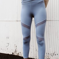 High Rise Ruched Mesh Legging (Dusty Blue)