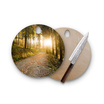 Falling In The Woods Love Round Cutting Board Trendy Unique Home Decor Cheese Board