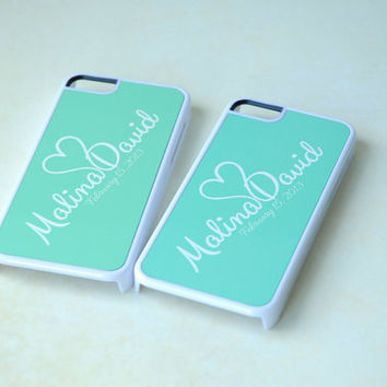 Personalized Phone Case, Couples Matching Phone Cases, iPhone 5, iPhone 6 Case, 6 Plus Case, Mint iPhone Case