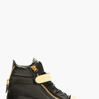 Giuseppe Zanotti Black Leather Metal Accent High-top Sneakers