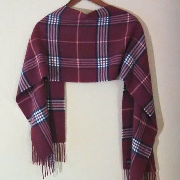 So Soft & Warm Flannel Plaid Scarf by V. Fraas, Cashmink, Scarf with Fringe, Made in Germany