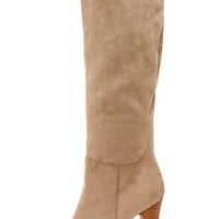 Dollhouse Embrace Taupe Suede Knee High Heel Boots