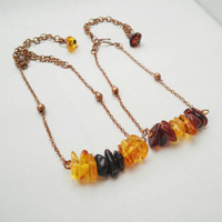 Amber Friendship Bracelets - 2 copper chain bracelets with honey and cherry amber