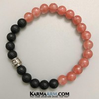 Om Mani Padme Hum Mantra Wheel: Strawberry Quartz | Black Onyx | Yoga Chakra Bracelet
