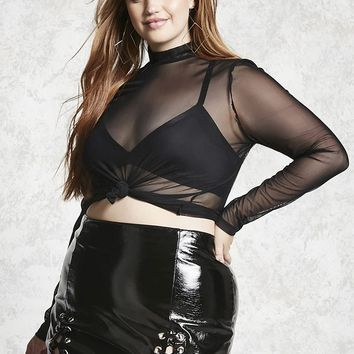 Plus Size Sheer Mesh Top