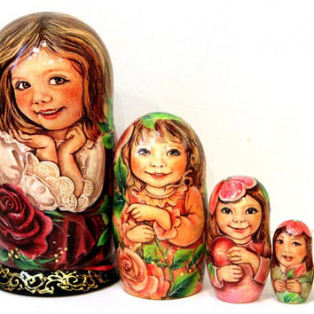 FREE SHIPPING nesting doll Julia set of 5 psc traditional Russian wood art hand painted curved wood toy Easter gift
