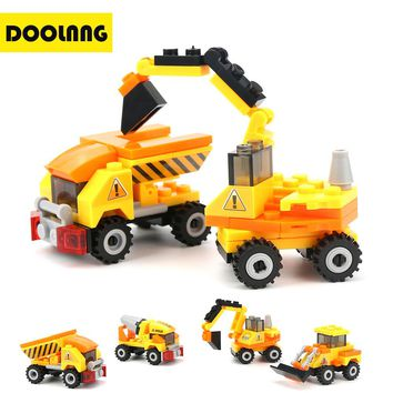 4pcs/lot Engineering Truck Building Blocks Set Toy Car City Construction Enlighten Education Assembly Toys Excavator Kids Gift