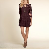 Embroidered Mesh Swing Dress