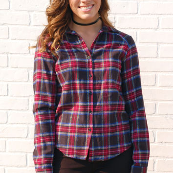 Long Awaited Plaid Top-Navy