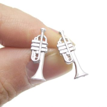 Tiny Trumpet Shaped Stud Earrings in Silver   Music Themed Jewelry