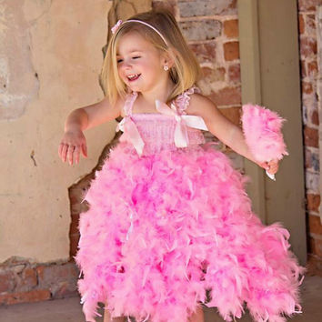 Girls Birthday Dress - Party - Pink Feather Dress