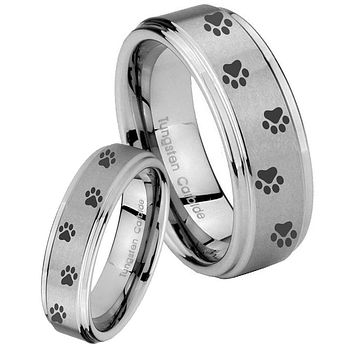His and Hers Step Edge Paw Print Design Tungsten Silver Wedding Rings Set