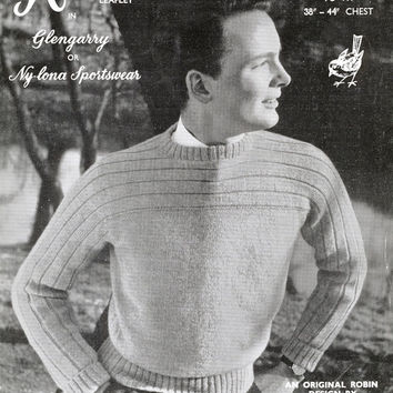 "Original 1950's Knitting Pattern - Man's Crew Neck Sweater Jumper Pattern - Vintage Pattern Robin 242 - 38"" 44"" Chest"