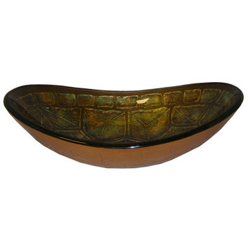 Yosemite Home Decor TORTUGA Green Turtle Shell Designed Oval Shape Basin